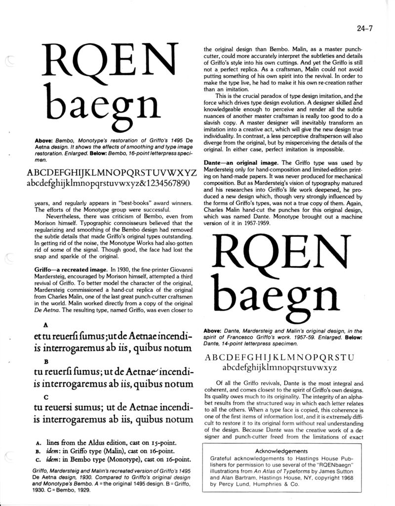 Bigelow & Holmes: Typography
